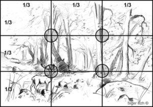 Composition du dessin - Règle des 3 tiers - Format horizontal