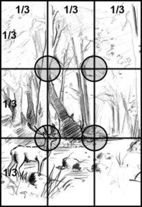 Composition du dessin - Règle des 3 tiers - Format vertical